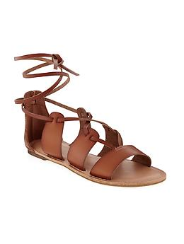 Lace Up Gladiator Sandal - Cognac Brown