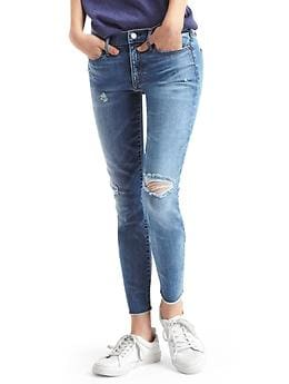 STRETCH 1969 destructed true skinny ankle jeans - medium indigo